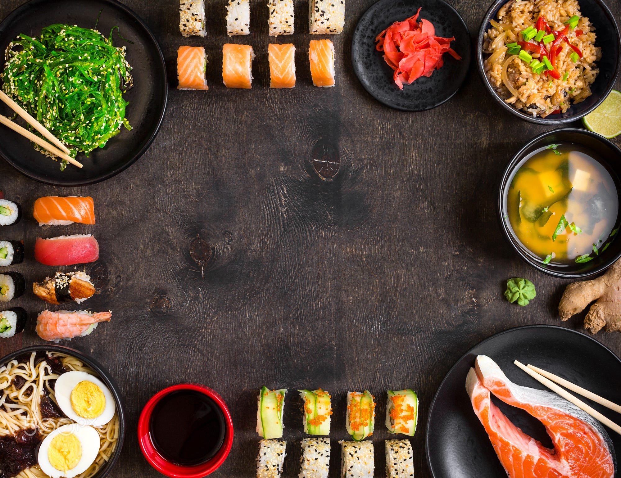 Sushi and japanese food on dark background